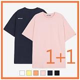 [리플라이퍼키]RE FLY PERKY [1+1/UNISEX]백사이드 절개자수 포인트 오버핏 스탠다드 티셔츠 (6color) 반팔티