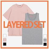 [리플라이퍼키]RE FLY PERKY [1+1/LAYERED SET]사이드컷 니켈 링지퍼 오버핏 포켓 티셔츠+스탠다드 레이어드 민소매 티셔츠 반팔티 나시티