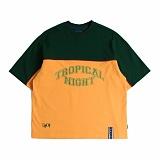 [로맨틱크라운]ROMANTIC CROWN Tropical Night Wide T shirt_Green 반팔티 티셔츠