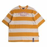 [로맨틱크라운]ROMANTIC CROWN Tropical Night Stripe T shirt_Mustard 반팔티 티셔츠