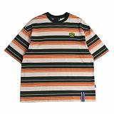 [로맨틱크라운]ROMANTIC CROWN Multi Stripe T shirt_Green 반팔티 티셔츠