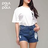 폴앤폴 - 스칼렛 구제 하이 반바지(여) act-N372