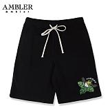 [엠블러]AMBLER 신상 트레이닝 5부반바지 ASP107-블랙 사이드 라인 레터링 팬츠 반바지 바지