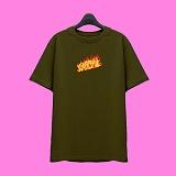 [슈퍼레이티브] superlative - [SST335] FIRE LOGO 반팔 티셔츠 - 반팔 티셔츠 - 카키