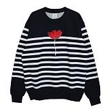 [PearlMoon]펄문 3_stripes crew neck flower 크루넥 3 맨투맨 스트라이프