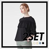 [프로젝트624]PROJECT624 [1+1] 가슴 러플 슬리브 티셔츠(4컬러) 반팔티