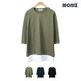 [모니즈] 레이어드 나그랑 7부 티셔츠  (3color) TSL510