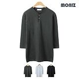 [모니즈] 헨리넥 슬라브 7부 티셔츠 (3color) TSL509