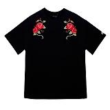 [예약발송 7월 14일±3일][블랙후디]BLACKHOODY DOUBLE ROSES 1/2 TEE BLACK 반팔티 티셔츠