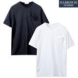 [해리슨] 속 포켓 워싱 라운드 반팔 티셔츠 MJB1240