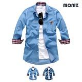 [모니즈] 7부 데님 헨리넥 데님셔츠 (2color) SHB828