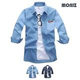 [모니즈] 7부 사각체크 데님셔츠 (2color) SHB826