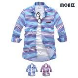 [모니즈] 7부 무지개 단가라 린넨셔츠 (2color) SHB814