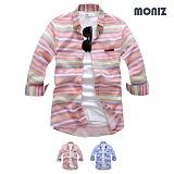 [모니즈] 7부 롤리팝 단가라 린넨셔츠 (2color) SHB808