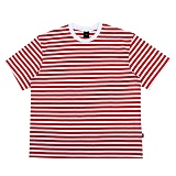 [아이넨]EINEN-Peerless Fake Stripe 1/2 T-Shirts White&Red 스트라이프 반팔티