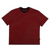 [아이넨]EINEN-Peerless Fake Stripe 1/2 T-Shirts Black&Red 스트라이프 반팔티