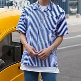 [모니즈] 잔줄 스트라이프 반팔 셔츠 (6color) SHT574