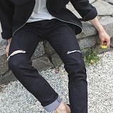 [모니즈] 무릎 커팅 블랙진 (1color) PDN275