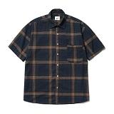 파르티멘토 - Plaid Check 1/2 Shirts Navy 반팔셔츠