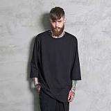 [하프크라이즈] HALB KREIS - TA-106 루즈핏 7부티셔츠_BK 반팔티 티셔츠