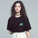 [아파트먼트]Part Back T - Black/Green 반팔티