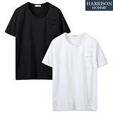 [해리슨] 워싱포켓 유넥 반팔 티셔츠 WMD1018