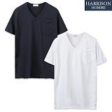 [해리슨] 워싱포켓 브이넥 반팔 티셔츠 WMD1017