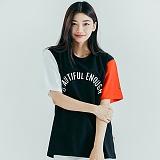 [모티브] MOTIVE - COLOR BLOCK SST BLACK RED 반팔티 티셔츠