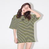 AROUND 80 - STRIPE SNAKE ROSE T-SHIRTS_YELLOW 반팔티셔츠