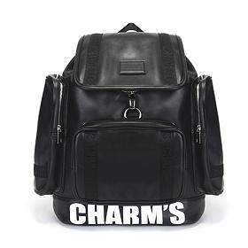 [참스]CHARMS - PUBERTY Leather backpack BLACK 레더 포켓 백팩 학생가방