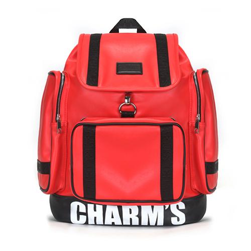 [참스]CHARMS - PUBERTY Leather backpack RED 레더 포켓 백팩 학생가방