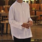 [모니즈] 지퍼 반오픈 셔츠 (2color) SHT589