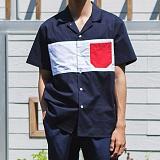[모니즈] 배색 오픈카라 반팔 셔츠 (3color) SHT592
