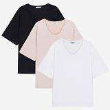 [프로젝트624]PROJECT624 [1+1] 베이직 루즈핏 U넥 티셔츠(3color) 반팔티