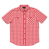 BLACKSCALE Gingham Plaid Short Sleeve Button Down Red 반팔셔츠