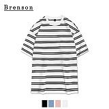 브렌슨 - 루즈핏 밴트 스트라이프 사이드절개 티셔츠 4컬러