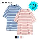 [1+1]브렌슨 - 루즈핏 밴트 스트라이프 사이드절개 티셔츠 4컬러