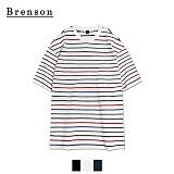 브렌슨 - 루즈핏 멀티 스트라이프 사이드절개 티셔츠 3컬러