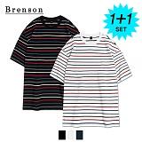 [1+1]브렌슨 - 루즈핏 멀티 스트라이프 사이드절개 티셔츠 3컬러