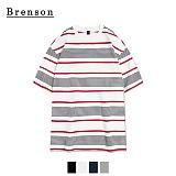 브렌슨 - 루즈핏 그램 스트라이프 사이드절개 티셔츠 4컬러
