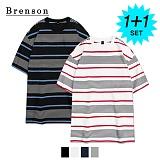 [1+1]브렌슨 - 루즈핏 그램 스트라이프 사이드절개 티셔츠 4컬러