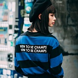 [본챔스] BORN CHAMPS B WIDE STRIPE TEE BLUE CEPCMTS04BL 긴팔티
