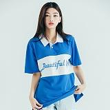 [모티브스트릿] MOTIVESTREET LINE COLLAR TEE BLUE 반팔티 티셔츠 카라티