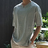 [모니즈] 브이 트임 반팔 티셔츠 (5color) TSB106