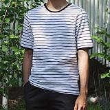 [모니즈] 단가라 라운드 반팔 티셔츠 (3color) TSB105