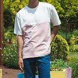 [모니즈] 절개 배색 반팔 티셔츠 (3color) TSB100