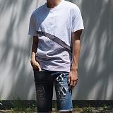 [모니즈] 단가라 사선 절개 반팔 티셔츠 (2color) TSB093