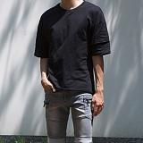 [모니즈] 컷팅 이중 소매 반팔 티셔츠 (2color) TSB092