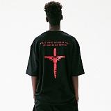 [매스노운]MASSNOUN 어뷰즈 오버핏 반팔 티셔츠 MUVTS009-BK