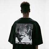 [매스노운]MASSNOUN 코크파이트 오버핏 반팔 티셔츠 MUVTS010-BK